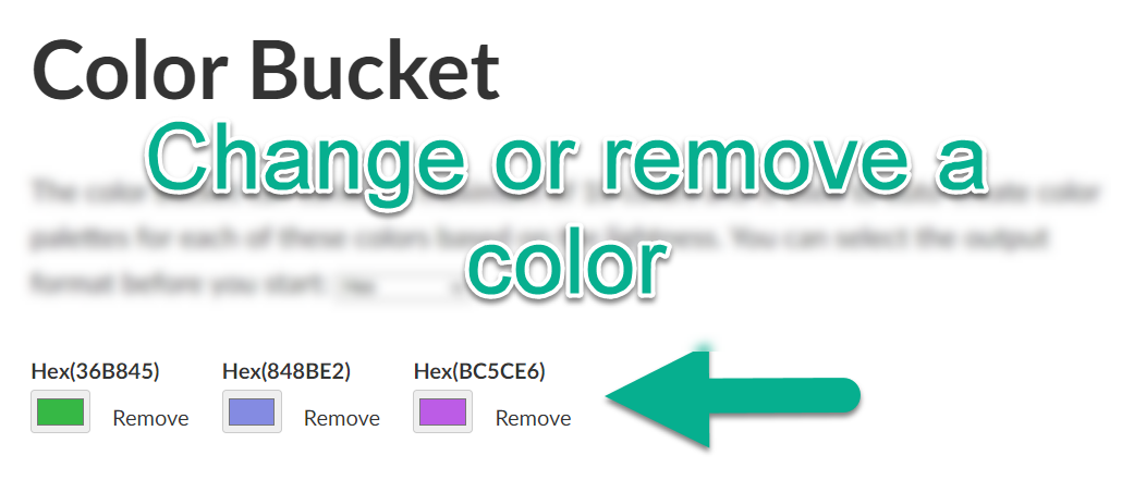 Color Bucket change or remove color